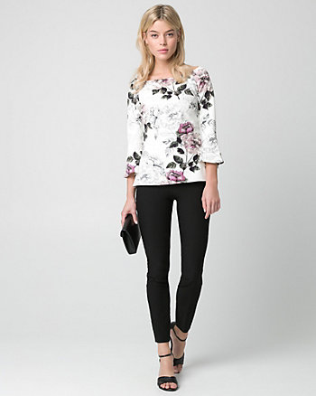 Floral Print Ponte Off-the-Shoulder Top