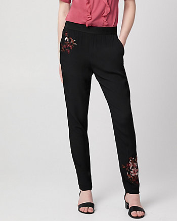 Embroidered Viscose Crêpe Slim Leg Pant