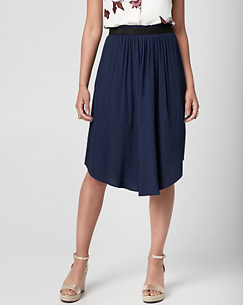 Viscose Crêpe Uneven Skirt