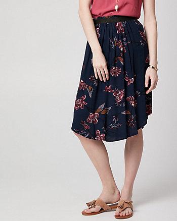 Floral Print Viscose Crêpe Uneven Skirt