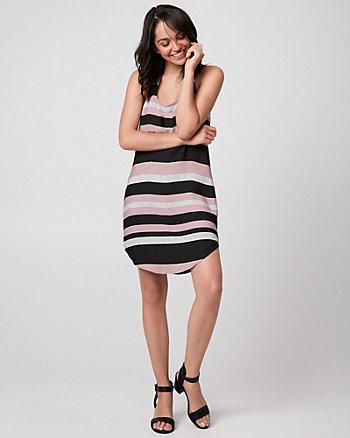Stripe Crêpe de Chine Racerback Tunic Dress