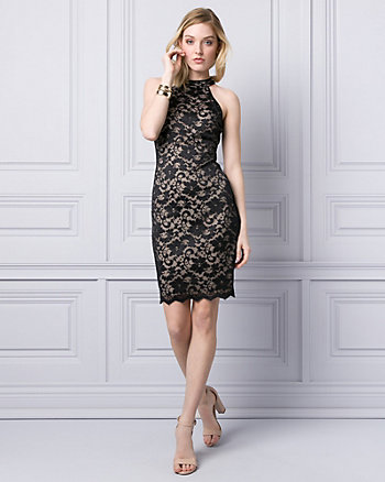 Lace Mock Neck Cocktail Dress