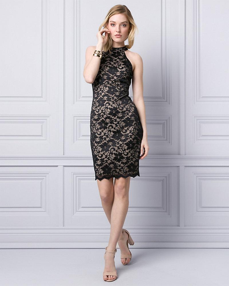 b7a6af5ea3 Lace Mock Neck Cocktail Dress