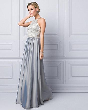 Metallic Jacquard & Chiffon Halter Gown