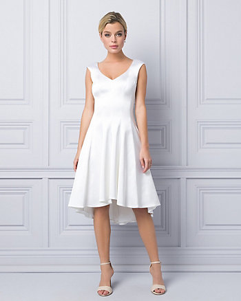 Satin V-Neck Cocktail Dress