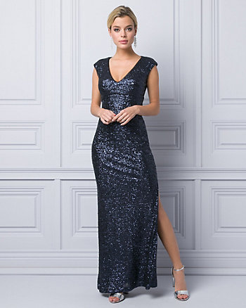 Sequin V-Neck Gown
