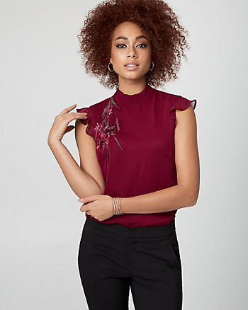 Embroidered Woven Mock Neck Blouse