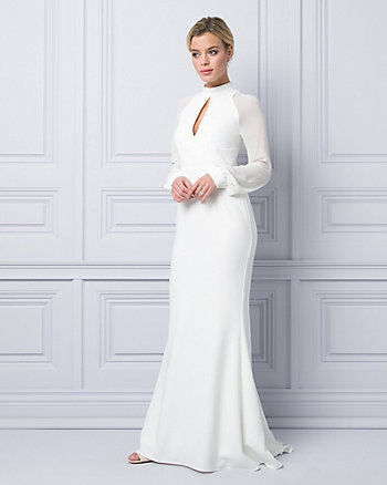 Triacetate & Chiffon Mock Neck Gown