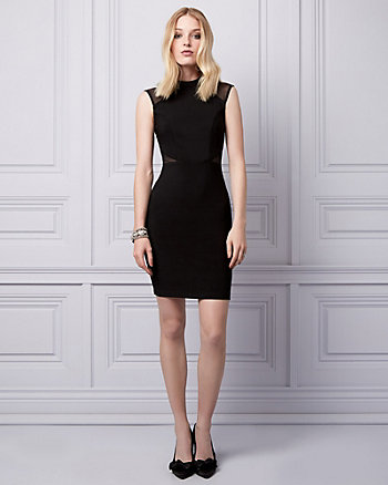 Mesh & Ottoman Knit Mock Neck Dress