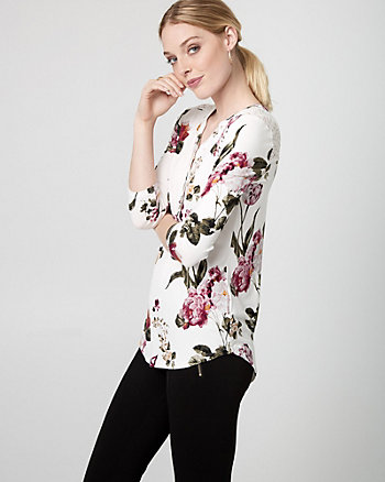Floral Print Lace & Jersey Henley Blouse