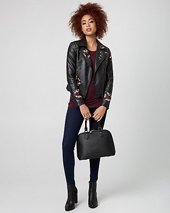Embroidered Leather-Like Jacket