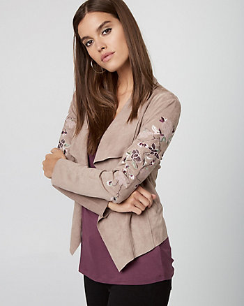 Embroidered Suede-Like Open-Front Jacket