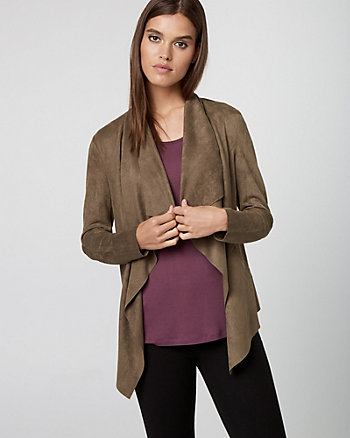 Faux Suede Open-Front Jacket