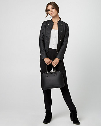 Leather-Like Military Jacket