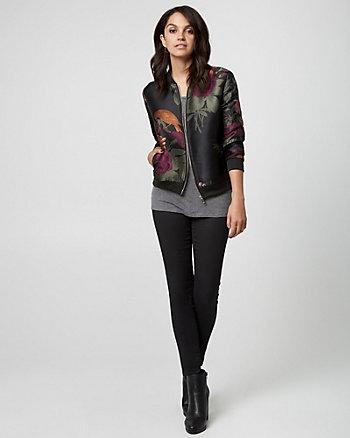 Floral Print Jacquard Bomber Jacket