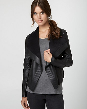 Leather-Like Open-Front Jacket