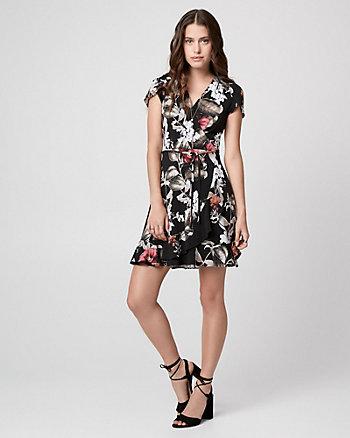 Floral Print Wrap-Like Mini Dress
