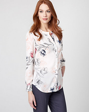 Floral Print Crêpe de Chine Pleated Blouse