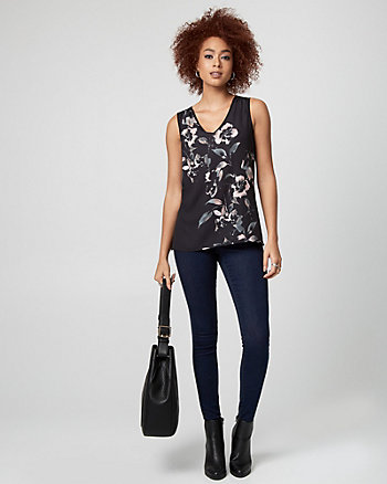 Floral Print Crêpe de Chine V-Neck Top