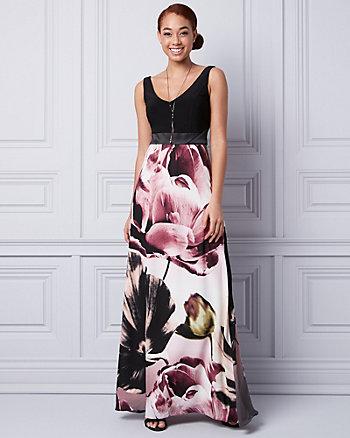 Floral Print Crêpe de Chine V-Neck Gown