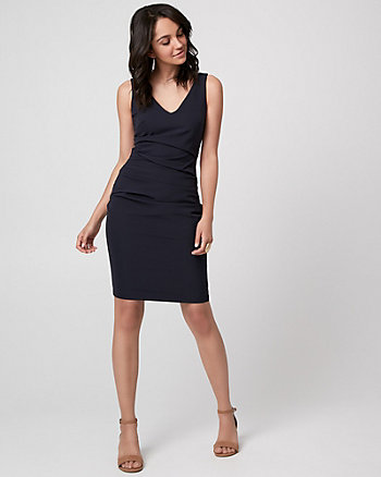 Woven V-Neck Pleated Dress