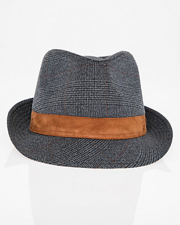 Glen Check Woven Fedora Hat
