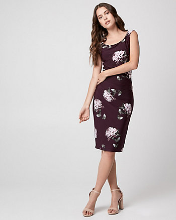Floral Print Knit Asymmetrical Dress