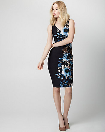 Floral Print Knit V-Neck Shift Dress
