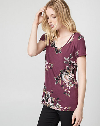 Floral Print Viscose Blend Scoop Neck Top