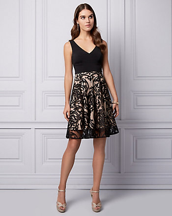 Paisley Print Burnout Knit Cocktail Dress