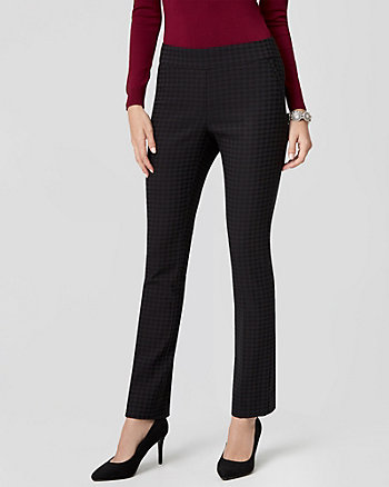Houndstooth Jacquard Straight Leg Pant