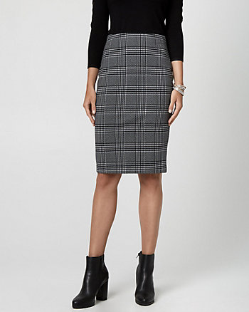 Glen Check Ponte Pencil Skirt