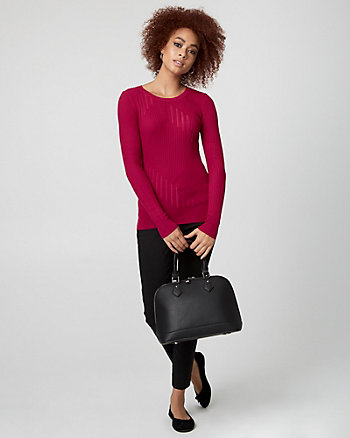 Rib Viscose Blend Crew Neck Sweater