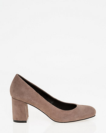Suede Square Toe Pump