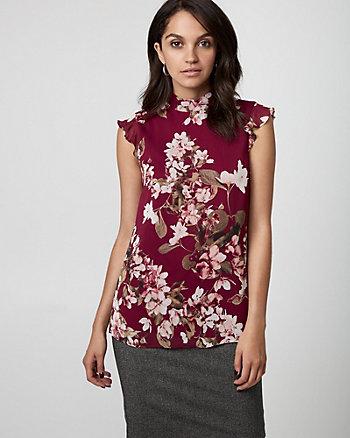 Floral Print Woven Mock Neck Blouse