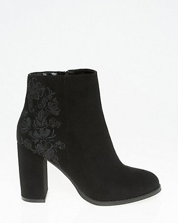 Embroidered Round Toe Ankle Boot