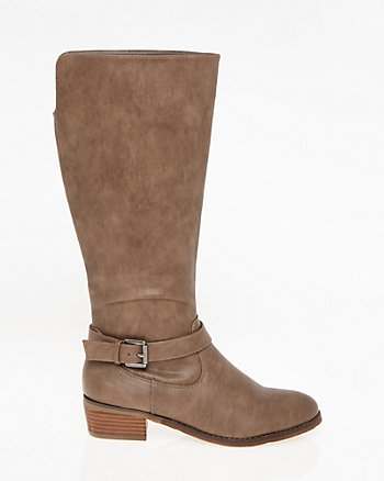 Buckle Round Toe Knee-High Boot