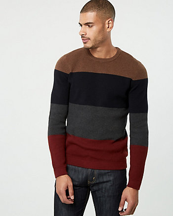 Textured Stripe Cotton Crew Neck Sweater