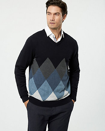 Argyle Print Cotton V-Neck Sweater