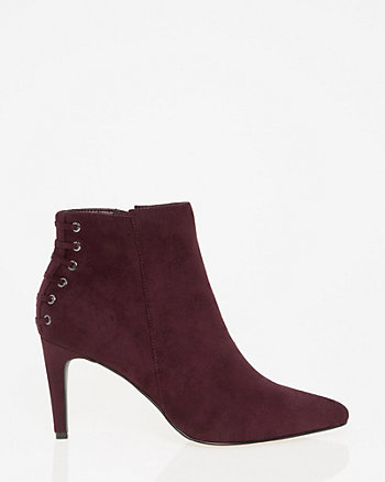 Lace-Up Pointy Toe Ankle Boot