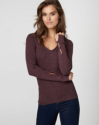 Rib Tweed Texture V-Neck Sweater