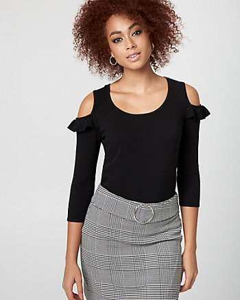 Viscose Blend Cold Shoulder Sweater