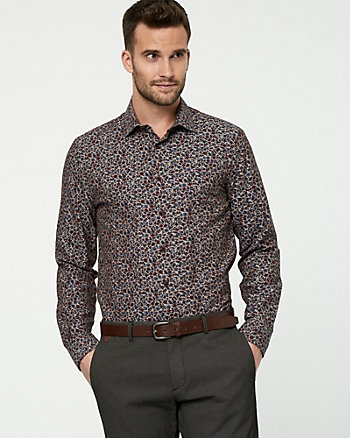 Floral Print Oxford Slim Fit Shirt
