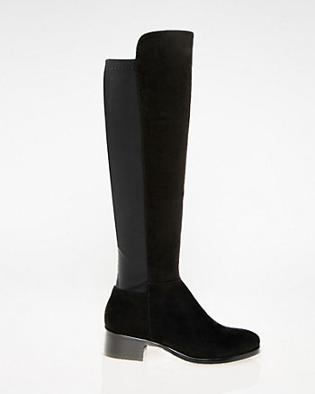 Faux Suede & Lycra Knee-High Boot