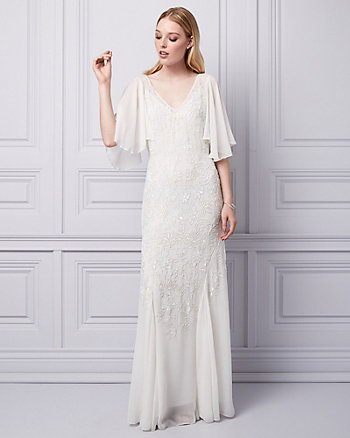 Embellished Chiffon V-Neck Gown