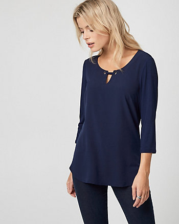 Crêpe de Chine Split Neck Top