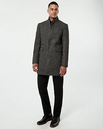 Bouclé Mock Neck Crombie Coat