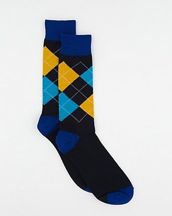 Argyle Print Cotton Blend Socks
