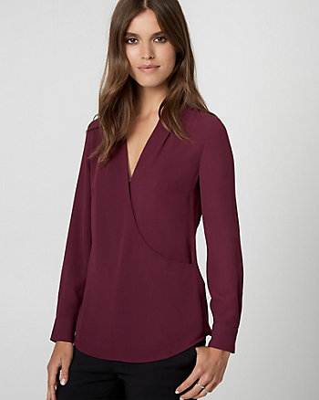 Crêpe de Chine Wrap-Like Blouse