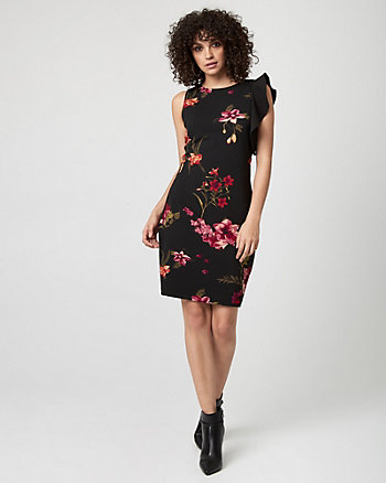 Floral Print Knit Crêpe Ruffle Dress